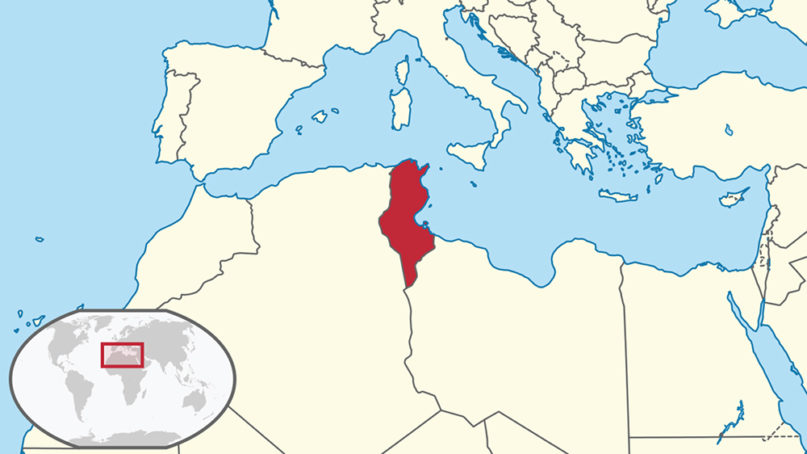 Tunisia, red, located in northern Africa. Image courtesy of Creative Commons